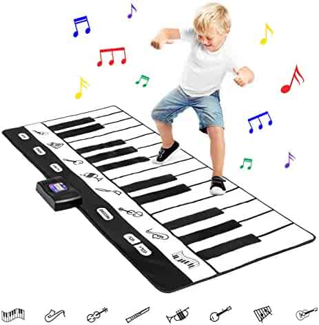 Best Choice Products 71in Giant Heavy-Duty Vinyl 24 Keys Piano Keyboard Music Playmat w/8 Instrument Settings - Black