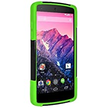 Amzer Double Layer Hybrid Case Cover with Kickstand for LG Nexus 5 D820, Google Nexus 5 D820 (Fit All Carriers)-Retail Packaging-Black/Neon Green