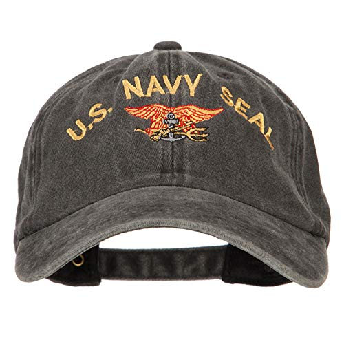US Navy Seal Logo Military Embroidered Washed Cotton Twill Cap - Black OSFM
