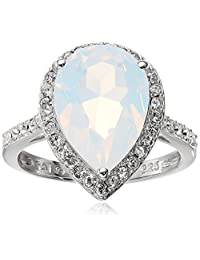 Sterling Silver Swarovski White Opal Crystal and Clear Crystal Pear Ring, Size 7