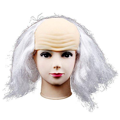 Halloween Bald Wig Funny Old Lady Wigs Masquerade Supplies Wig Head Mask Halloween Costume (Light Grey)