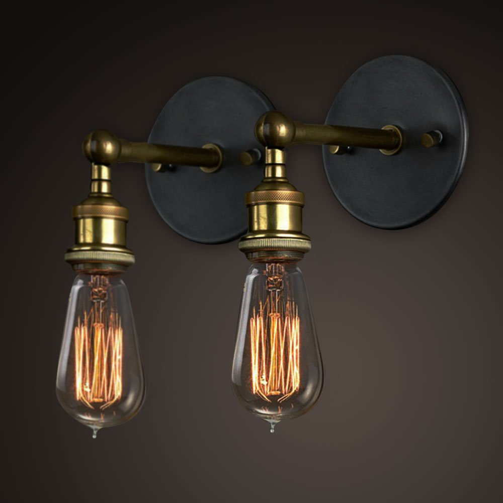 Wall lighting fixtures amazon vintage wall lights copper head adjustable wall sconce lamp retro edison brass light head with mozeypictures Gallery