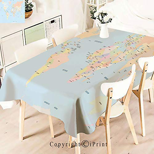 Durable Rectangle Tablecloth Print Table Cover for Home and Party Decoration,Classical Political World Map Administration Theme,Indoor Outdoor Party Picnic Easy Care Washable Table Cloth,W55 -