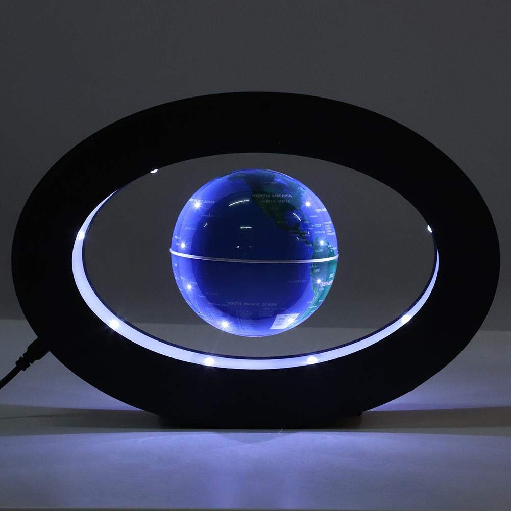 Blue, Uk Plug Lelestar Magnetic Levitating Globe Electronic Floating Maglev Lamp with World Map Anti Gravity Rotating Globe Home and Office Decoration Educational Geography Novelty/