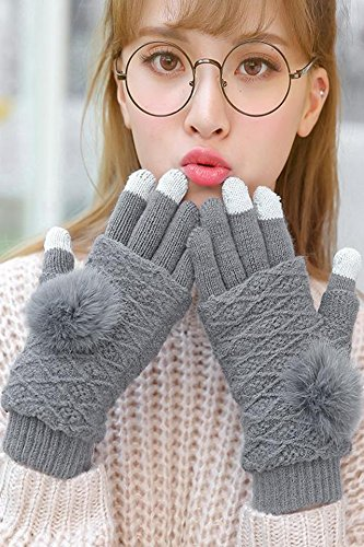 Generic The_ new rabbit hair knitted _pointer_ball_full_ touch screen _dual-use_ gloves women girl autumn _and_ winter thick warm Korean style lovely _half_refers_to_ cycling
