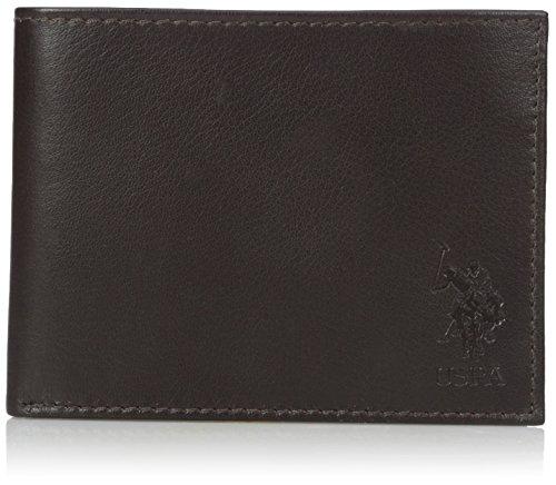 U.S. Polo Assn. Men's Genuine Goat Leather Wallet, Embossed Bifold (Genuine Goat)
