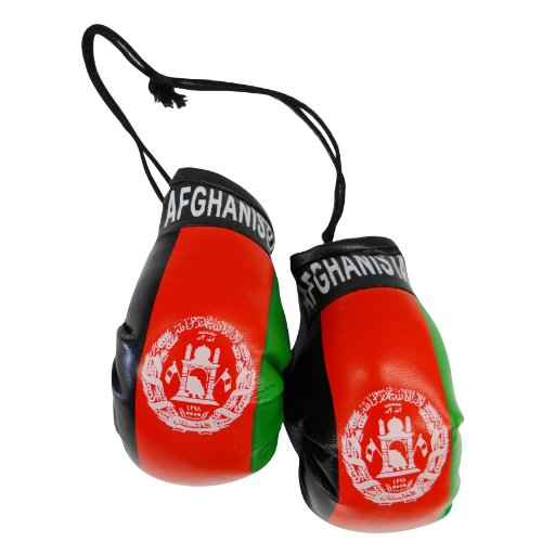 Afghanistan Country Flag Mini Boxing Gloves to Hang Over Your Automobile Mirror ... (Afghanistan Country Flag)