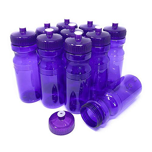 CSBD Blank 24 oz Sports and Fitness Water Bottles, BPA Free, PET Plastic, Made in USA, Bulk (Purple, 10 Pack)