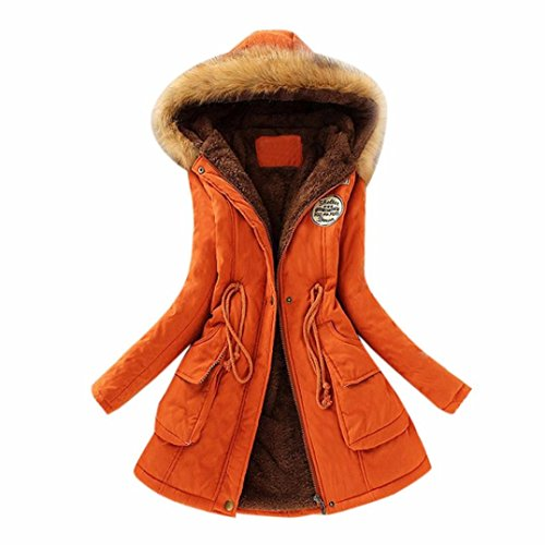 AOJIAN Winter Women Warm Long Coat Fur Collar Hooded Parka Outwear (XXXL, Orange) (Hooded Parka Fur)