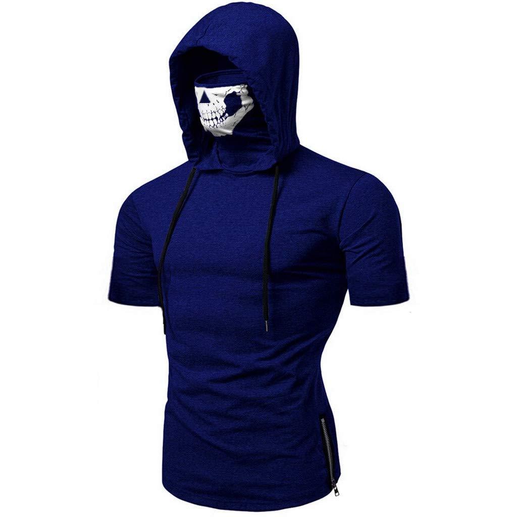 Winsummer Men's Skull Mask Pattern Hoodie T-Shirt Casual Short Sleeve Hooded Tops Tees Dark Blue