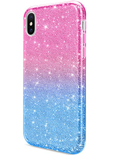 iPhone 8 Plus Case, Daupin Clear iPhone 7 Plus Case with 360 Rotatable Ring Kickstand Soft TPU Bumper PC Hard Back Protective Phone Case for iPhone 7 Plus 8 Plus (Blue)