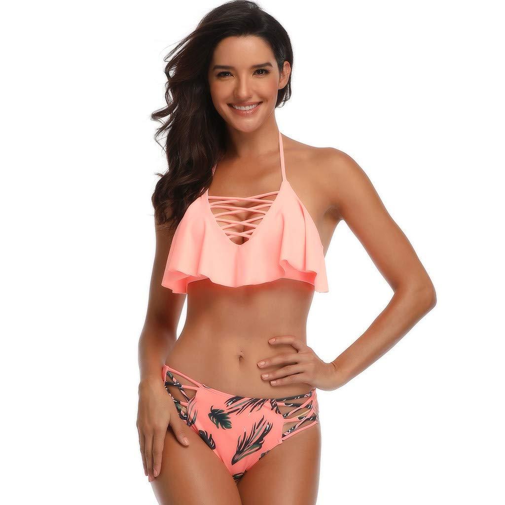 06ae58b560 Amazon.com: Howley Bikini Mother and Daughter Matching Swimsuit Women Two  Piece Swimwear Bandage Bikini Set Boho Ruffles Beachwear: Clothing