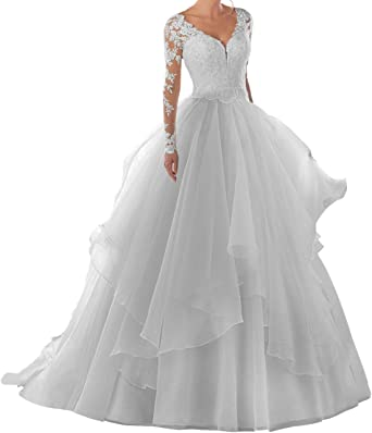 Amazon Com Wedding Dresses Organza Bride Dress Long Sleeve Lace Bridal Gowns V Neck Wedding Gown Clothing
