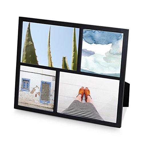 Black Metallic Finish - Umbra Senza Multi Photo Frame Metal Picture Frame, Modern, Thin Frame, Metallic - Black Finish