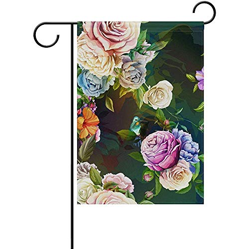 Cvhtr3m 12 x 18 Inch Garden Flag, Seasonal Garden Banner Double Sided Printed Vintage Oil Painting Flowers Flag,Decorative for Home Outdoor Yard Garden