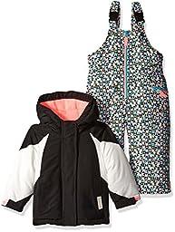 Carter\'s Girls\' Infant Color Block Active 2 Pc Snowsuit with Print Pant, Black, 12 Months