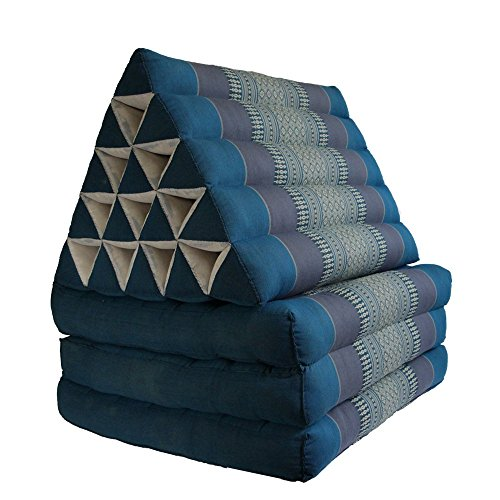 Foldout Triangle Thai Cushion Three Fold Jumbo Size, Blue by BRAIN GAMES