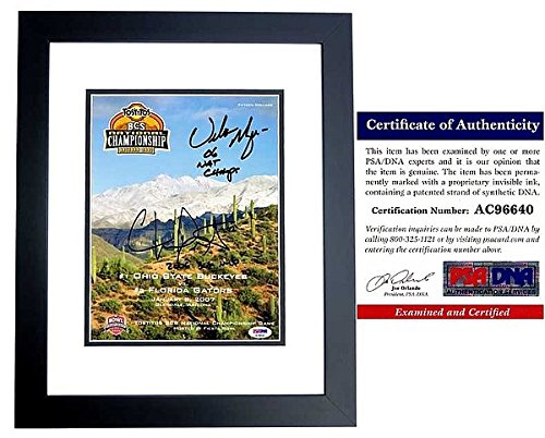 Urban Meyer and Chris Leak Autographed Signed OFFICIAL 2006 National Championship Program Cover - Florida Gators vs Ohio State Buckeyes - Black Custom Frame - PSA/DNA Authentic