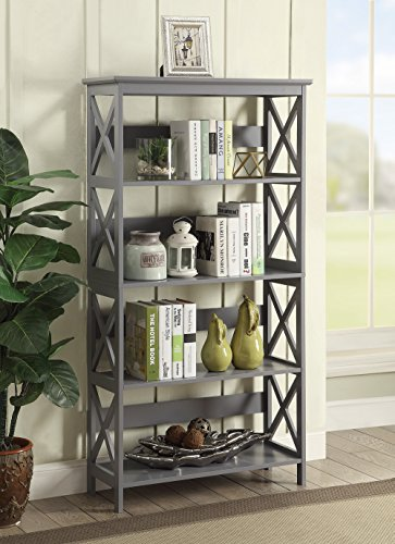 Convenience Concepts Oxford 5-Tier Bookcase, Gray (Grey Collection Oxford)