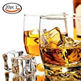 20 PCS Acrylic Ice Cubes Square Shape, Glass Luster Ice Cubes, Fake Artificial Acrylic Ice Cubes Crystal Clear for Photography Props Kitchen Toy Decoration 1inch/2.5cm