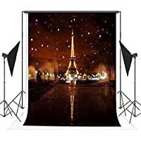 5x7ft Lights up the Night Paris Eiffel Tower Photography Backdrop Background FT0432
