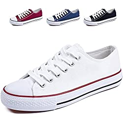 ZGR ZGR Canvas Sneaker Low cut Season Lace Ups Shoes Casual Trainers for Women and Teenager White US7