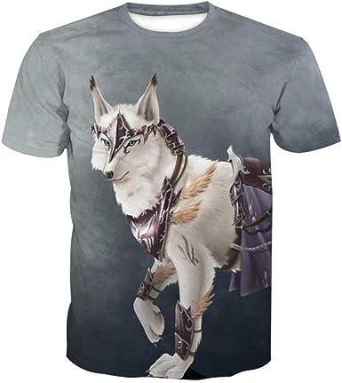 Imprimir Camiseta De Manga Corta_Summer Wolf Tendencia Europea Y Americana Impresión Digital Camiseta De Manga Corta Hombre-4143_XL: Amazon.es: Ropa y accesorios