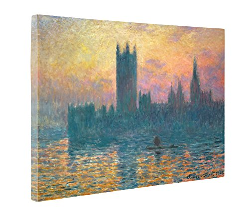 Niwo Art - Sunset The Houses of Parliament, by Claude Monet - Oil Painting Reproductions - Giclee Canvas Prints Wall Art for Home Decor, Stretched and Framed Ready to Hang (16