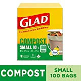 Glad 30265 100-Percent Compostable OdourShield Easy-Tie Small Bags, Lemon Scent, 100 Count, Green