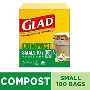 Glad 100% Compostable Bags - Small 10 Litres - Lemon Scent, 100 Trash Bags