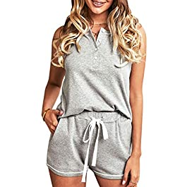 Angashion Women's Short Pajamas Set Button Tank Top with Shorts Drawstring Sleepwear Nightwear Pjs Loungewear