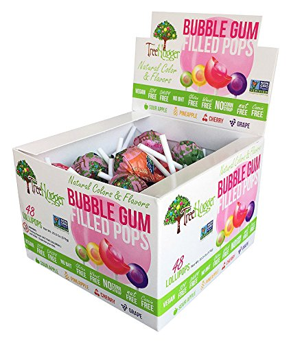 Tree Hugger Bubble Gum Lollipops Display Box, Great For Big Fun, 48 Count Bubble Gum Lollipop