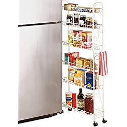 Collections Etc Slim Rolling Pantry 6 Tier Shelf, 6""