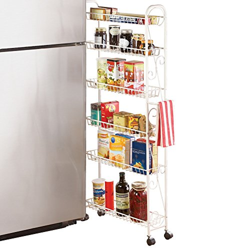 (Slim Rolling Pantry 6-Tier Shelf, White Metal with Elegant Scroll Design Accent - Extra Kitchen and Bathroom Storage,)