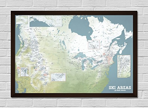 North America Ski Resorts FRAMED Map 24x36 Poster (Natural Earth | (Bohemia Walnut)