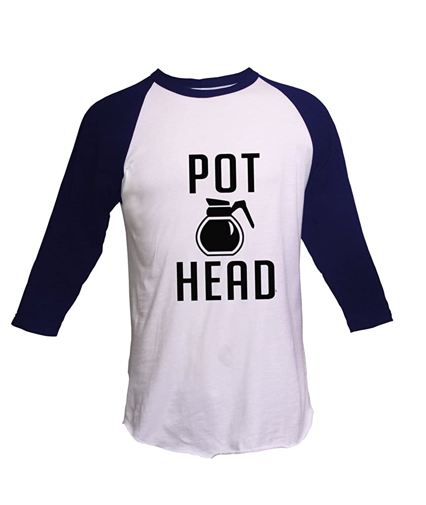 Coffee Pot Head Unisex Fine Raglan Ts