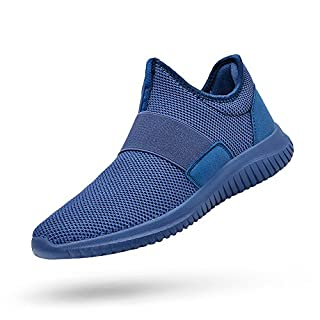 Feetmat Mens Tennis Shoes Slip On Running Gym Shoes Laceless Knitted Workout Fashion Sneakers Blue 11.5
