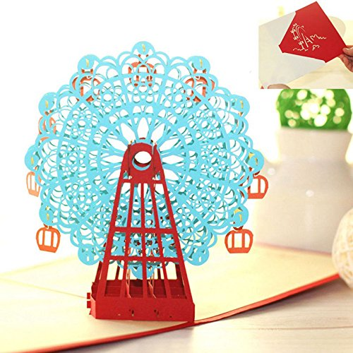 Abundance Postcard (NPLE--Hot 3D Paper Cut Handmade Pop Up PostCard Greeting Cards Party Birthday (Blue))
