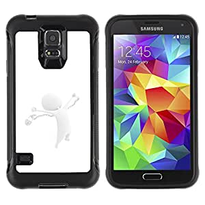 ZAAAZ Rugged Armor Slim Protection Case Cover Durable Shell - White Abstract - Samsung Galaxy S5
