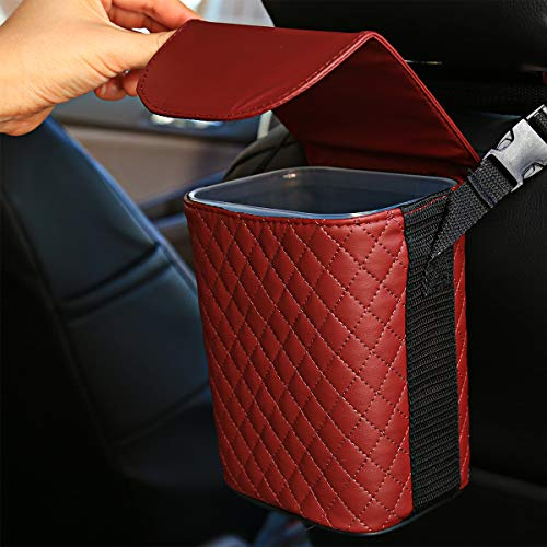 Sangyn Car Garbage Bin Can with Lid Leakpoof Auto Trash Can Hanging with Removable Washable Inner Holder (Red)