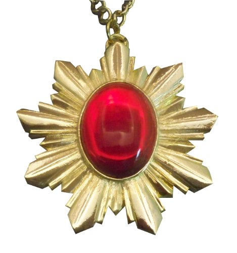 Renaissance Medallion Gold Finish with Red Cabochon Extra Large Pendant Necklace - Gold Finish Medallion Necklace