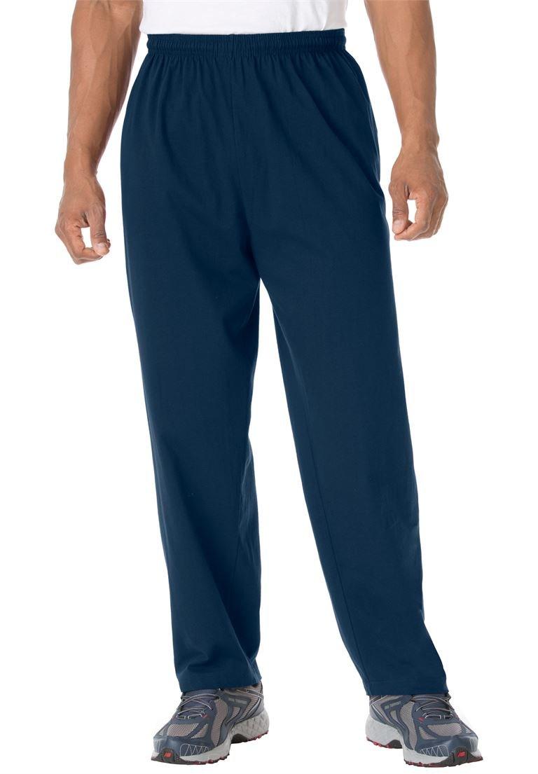 KingSize Men's Big & Tall Cotton Jersey Open-Bottom Pants, Navy Tall-3Xl