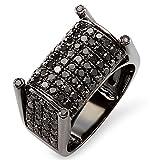 2.75 Carat (ctw) 10K Black Rhodium Plated White Gold Round Black Diamond Mens Ring (Size 12)