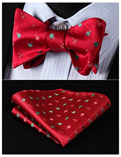 HISDERN Men's Christmas Candy Woven Party Self Bow Tie Pocket Square ()