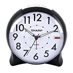 Sharp SPC127A Quartz Analog Alarm Clock (Black/White)