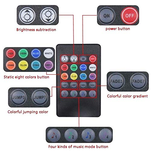 utl 4X DC12V 9 LED RGB Car Interior Atmosphere Footwell Strip Light USB Charger