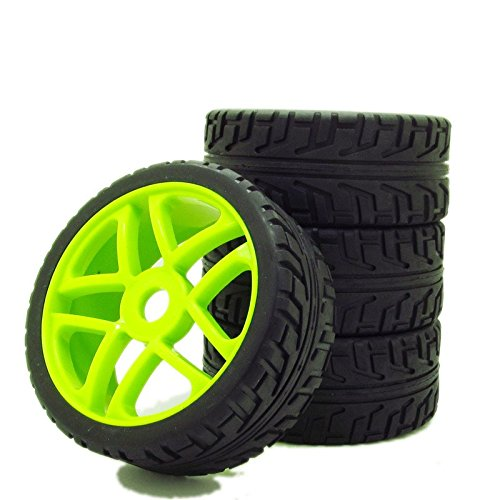 1:8 Off-Road RC Car Buggy 17mm Hub Wheel Rims and Tires H Thread Pattern Green Pack of 4 (Best 1 8 Buggy)