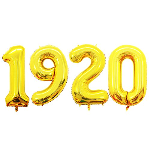 GOER 42 Inch Gold Number 1920 Balloon,Jumbo Foil Helium Balloons for 1920's Party Decorations Accessories Photo Booth Props]()