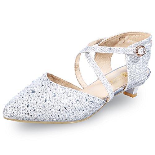(IDIFU Women's INI Abby Sequins Kitten Heels Ankle Strap Bridal Pump Silver 8.5 B(M) US)