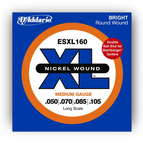 D'Addario ESXL160 Nickel Wound Bass Guitar Strings, Medium, 50-105, Double Ball End, Long Scale
